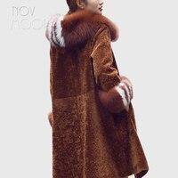 Зимние теплые женские карамель овечьей шерсти Дубленки пальто натуральным лисьим мехом с капюшоном манжеты Длинная Верхняя одежда ветровк