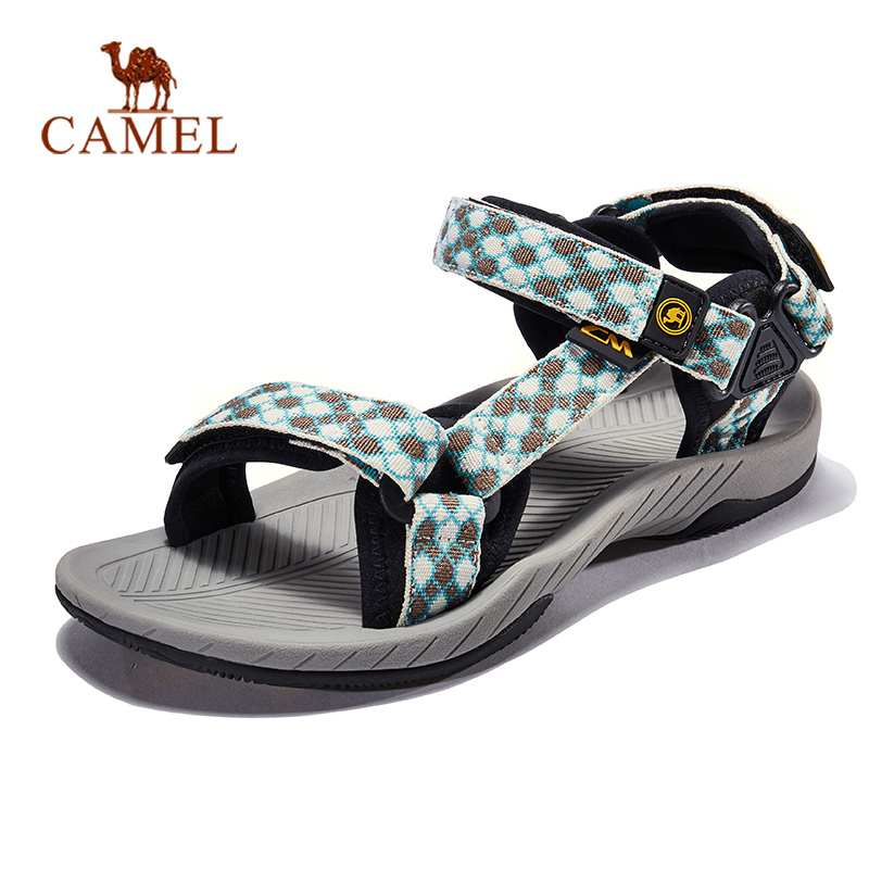 CAMEL Women Men Outdoor Sandals Plaid Summer Casual Comfortable Anti-slip Hiking Trekking Shoes Beach Fishing Sandals