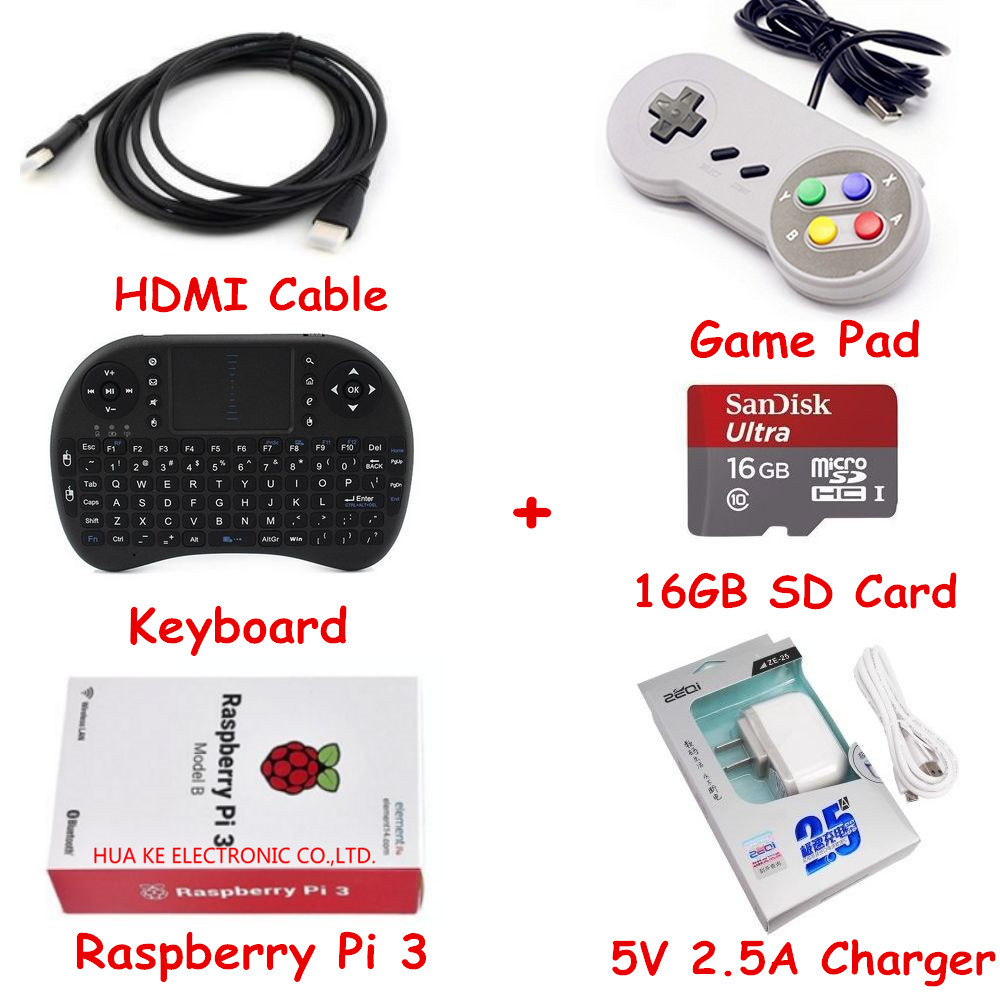 bilder für Raspberry Pi Retropie Spielkonsole Kit Raspberry Pi 3 Modell B & 16 GB Sd-karte & HDMI Kabel & Tastatur & Game pad & 5 V 2.5A Ladegerät