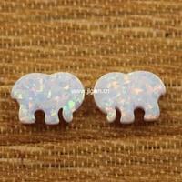 2pcs Lot Hot Selling Color Op17 8 6 12 MM Elephant Shape Ivory Ella Synthetic Opal