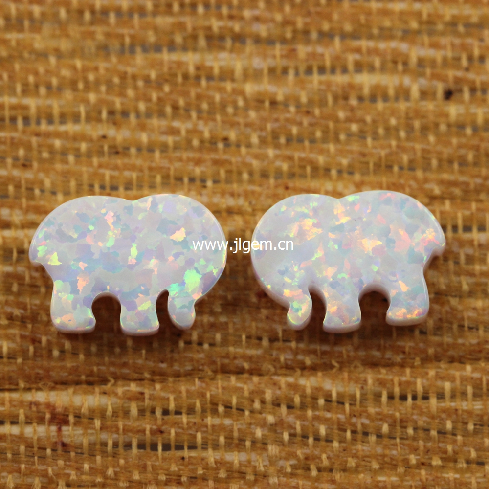 US $20 24 |2pcs/lot Hot Selling Color Op17 8 6*12 MM Elephant Shape Ivory  Ella Synthetic Opal Stone Price White Elephant Opal-in Beads from Jewelry &