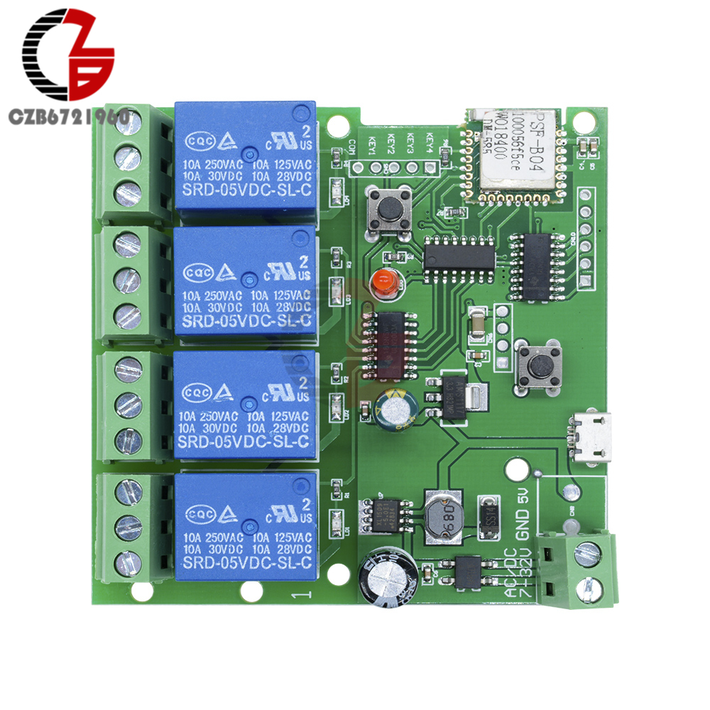 12V 220V Wifi Relay Switch 4 Channel Wireless Wifi Relay Module Remote  Control Switch App Control Switch 5-32V for Smart Home