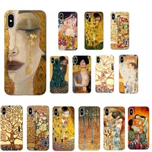 Kiss by Gustav Klim Golden Tears Tree Boat PaintingCase For iPhone 7 Phone Case for X XS MAX 6 6S 11 11PRO XR 5 SE
