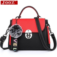 JOOZ Hit color women's handbags leather Ladies hand bags 2018 New women bag shoulder Bag bolsos Fur Toy Women Messenger Bags