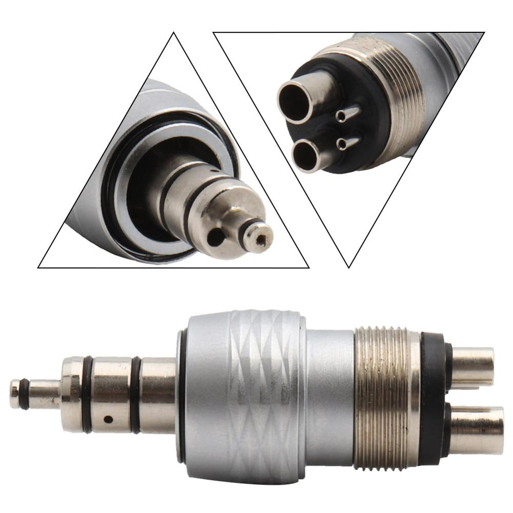 4Holes Metal Adaptor/Coupler Fits Dental High Speed Handpiece Coupling Air Turbine Midwest M4