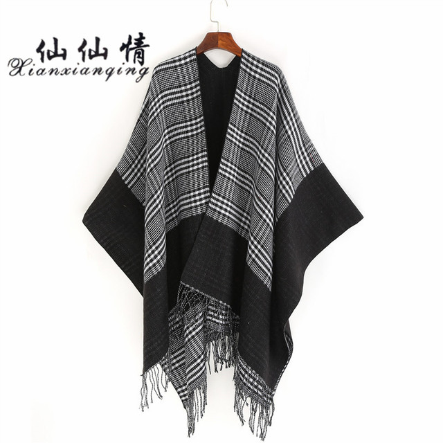 XIANXIANQING Winter Plaid Striped Women Faux Cashmere Shawls Lady Warm  Ponchos Chequer Capes And Echarpe Scarves Fashion DP2624 02c5e63afa2