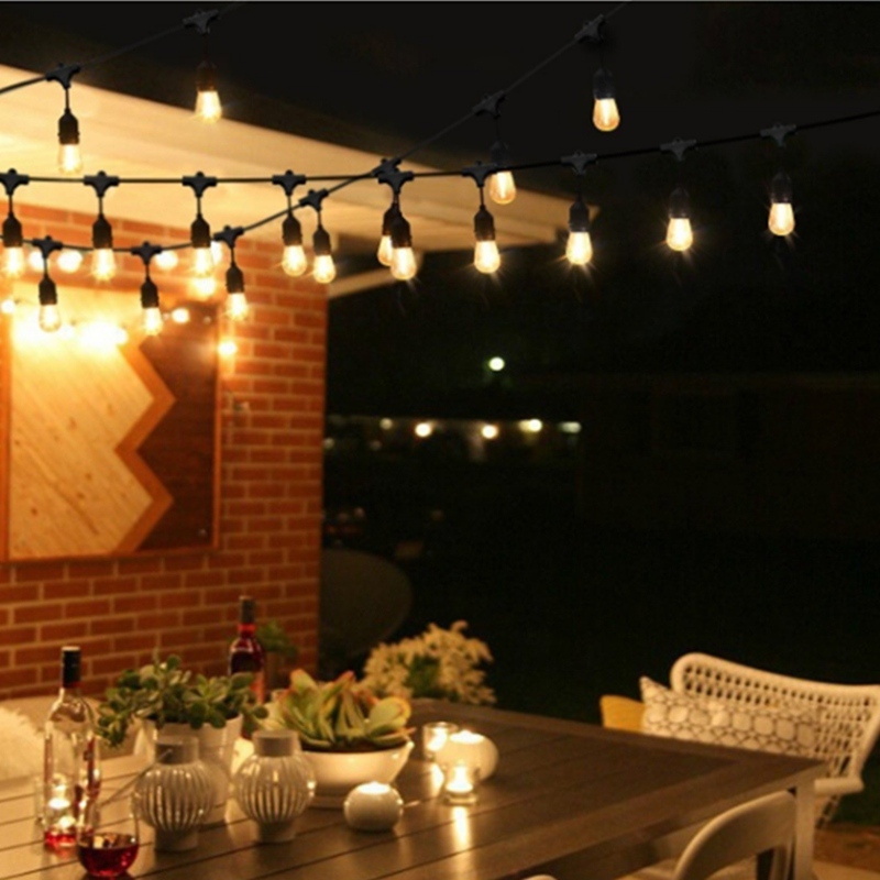 Mising S14 LED Outdoor Lighting String 15M 15 Ball Bulbs US Plug Warm White Rubber Wire Waterproof Outdoor Decoration