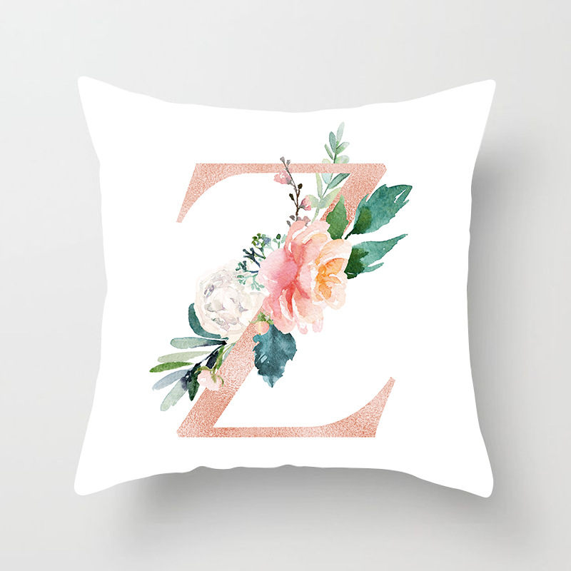 1 Piece Trendy Polyester Peachskin Pillow Case Pink Flower English Letter