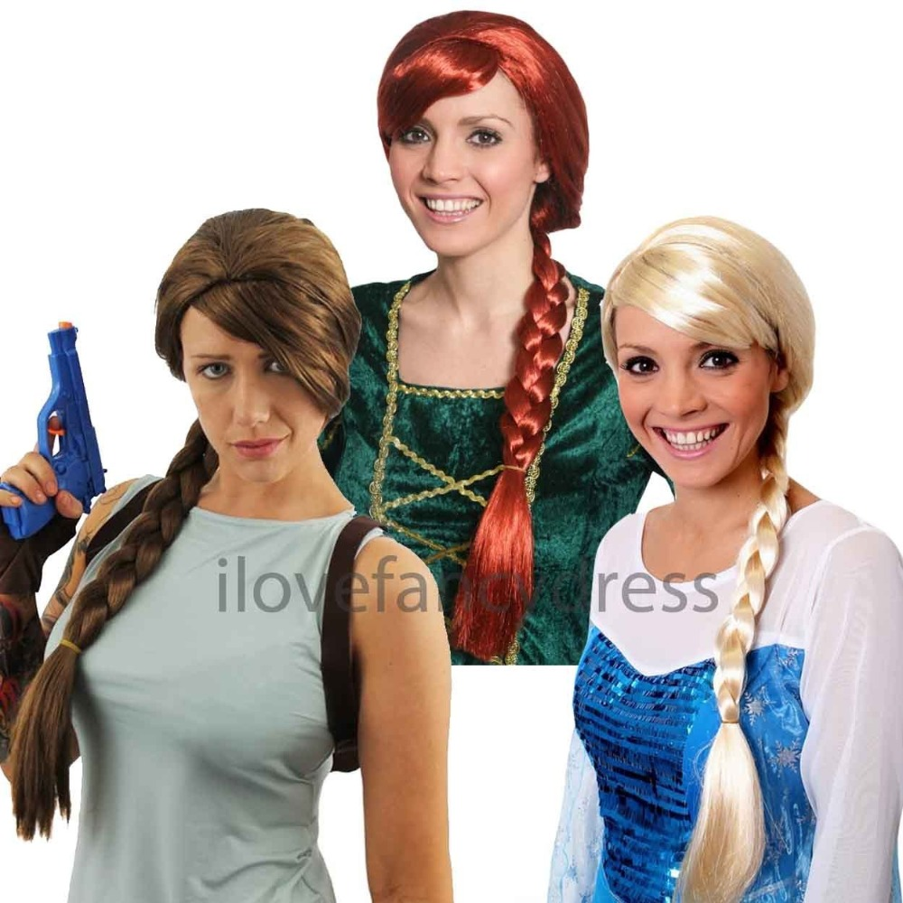 LADIES PLAIT WIG BROWN RED BLONDE CHOOSE COLOUR CHARACTER FANCY DRESS ACCESSORY