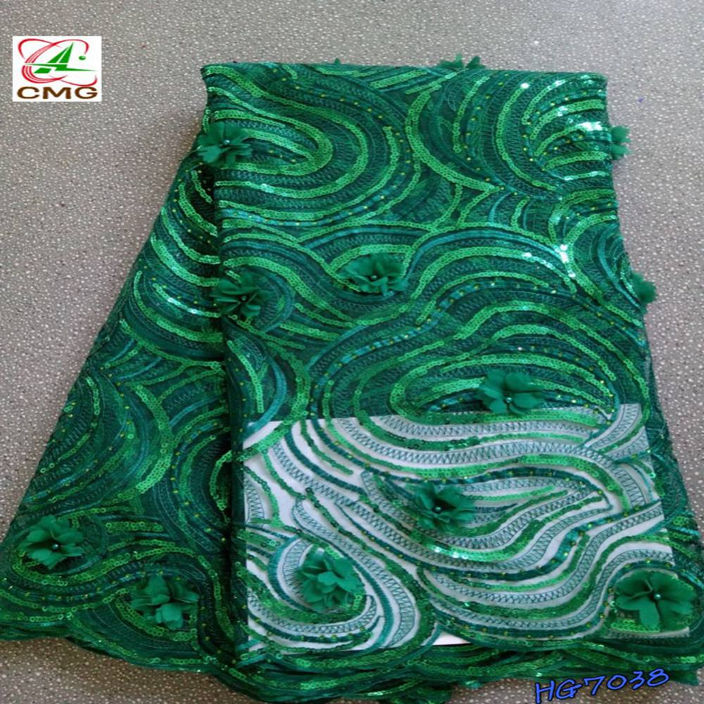 Nigerian Green 3D Flowers African Beads French Net Tulle Lace Fabric Embroidery Sequinse Mesh Good Quality Tulle Lace FabricsNigerian Green 3D Flowers African Beads French Net Tulle Lace Fabric Embroidery Sequinse Mesh Good Quality Tulle Lace Fabrics