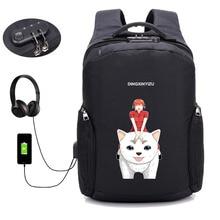 Japan anime Gintama backpack USB charging men travel backpack Laptop computer backpack student shoulder bag men women Rucksack недорго, оригинальная цена