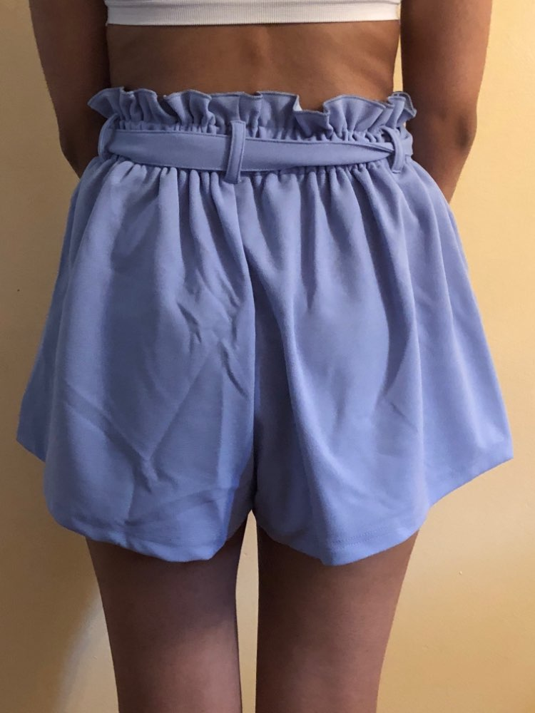 SHEIN Blue Vacation Boho Bohemian Beach Ruffle Trim Self Tie Elastic High Waist Belted Shorts Summer Women Casual Shorts