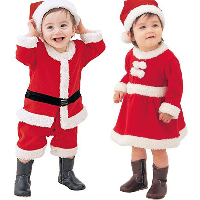 Baby Romper Newborn Baby Boys Girls Christmas Santa Claus Bebe Fleece Lining Romper + Hat Suit Infant New Year Clothes