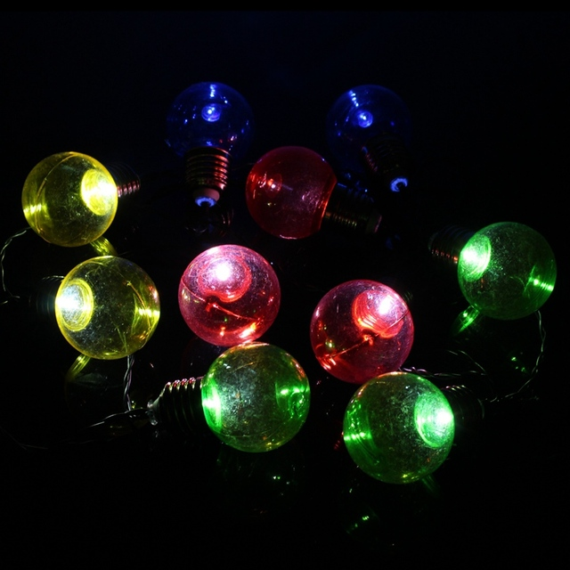 waterproof solar power colorful g50 bulb shape 10 led string light fairy lights party wedding christmas