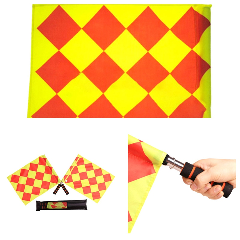 Soccer Referee Flag with Bag Football Judge Sideline Fair Play use Sports Match Football Linesman Flags Referee Equipment Toy