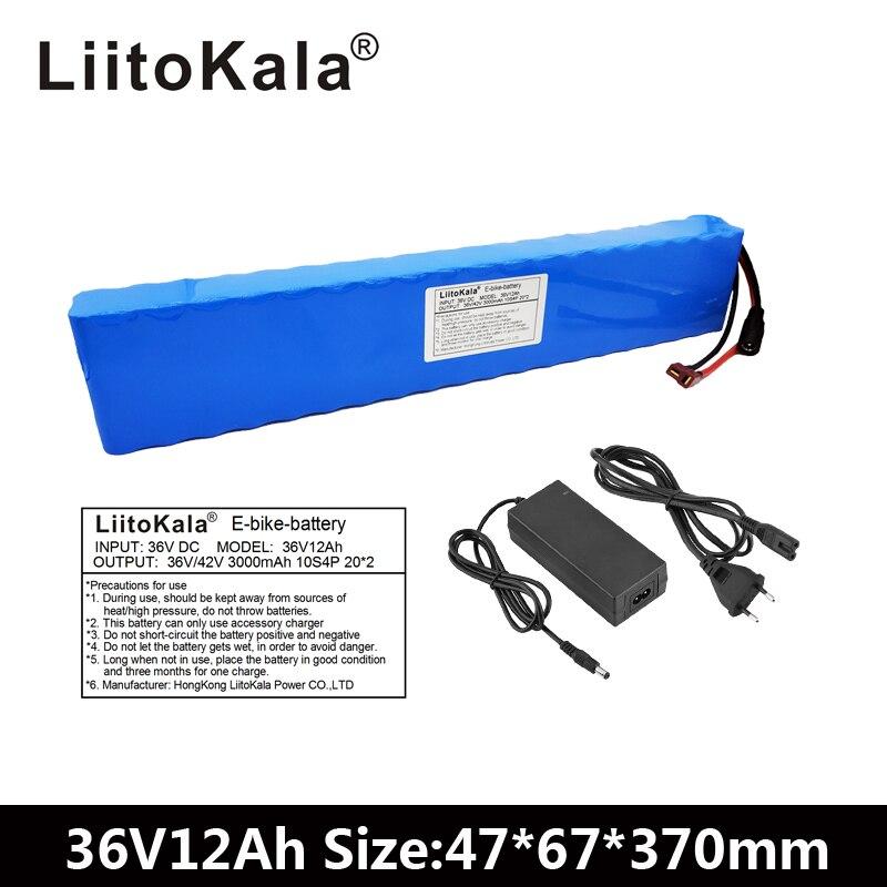 LiitoKala 36 V 12Ah 500 W haute puissance et capacité 42 V 18650 batterie au lithium pack ebike voiture électrique vélo moteur scooter avec BMS