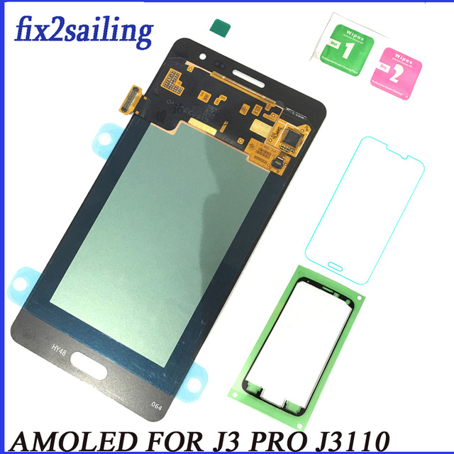 Super AMOLED LCD Display 100% Tested Working Touch Screen Assembly For Samsung Galaxy J3P J3110 J3 pro J3119 With Tempered Glass