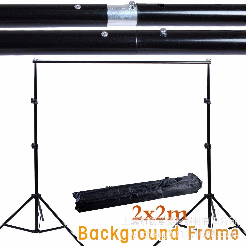 2*2 M/6.5ft * 6.5ft Support de toile de fond Photo système de cadre en aluminium avec sac de transport Kit de Studio de photographie