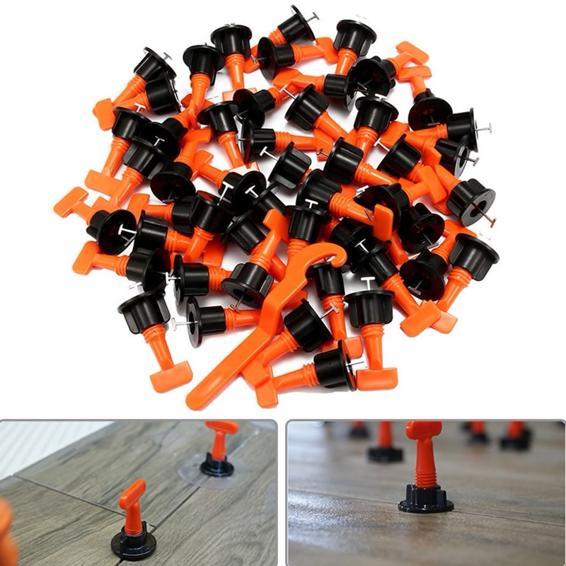 50Pcs Tile Leveling System Kit 1.6mm Space Reuse Wall Floor Clip Leveler Ceramic 3-15mm Thickness Self Adhesive Tile