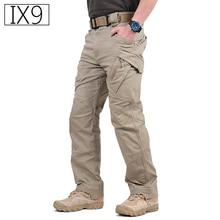 IX9 עיר טקטי מכנסיים מטען גברים Combat SWAT צבא צבאי מכנסיים כותנה רבים כיסים למתוח גמיש גבר מזדמן מכנסיים XXXL