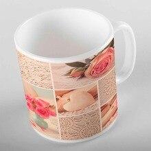 Розовые розы сердца синяя ваза в цветочек пэчворк 3d печать подарок керамическая питьевая вода Чай медведь кофейная чашка кружка кухня