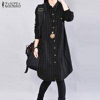 ZANZEA Women Fashion Lapel Neck Long Sleeve Blouse Casual Loose Long Work Vestidos 2018 Autumn Oversized