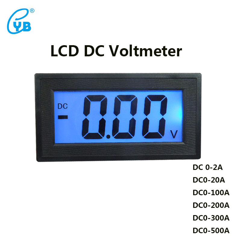 YB5135D LCD DC Voltmeter Three-wire Digital Voltmeter Digital Voltmeter DC Voltage Meter Blue Backlit Full-sealed Meter Volt digital voltmeter dc 4 30v 0 100v 2 3 line digital voltage tester meter blue lcd backlit panel monitor meter