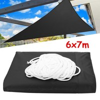 6*7m Black Rectangle Heavy Duty Shade Awnings Sail Sun Top Canopy Waterproof Polyester Outdoor Garden Shelter Tools Supplies