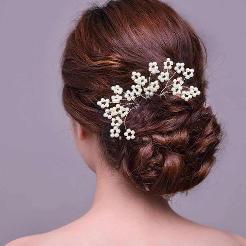 ead340a2ce Handmade Bridal Wedding Hair Accessories Crystal Pearl Flower Hair ...