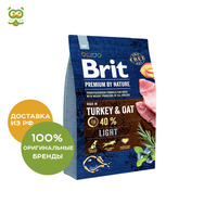 Food Brit Premium by Nature Light for dogs over weight, Turkey, 3 kg.