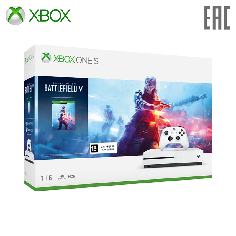 Video Game Console Microsoft Xbox One S 234-00689 + Battlefield V игровая консоль microsoft xbox one s 234 00689 белый в комплекте игра battlefield v