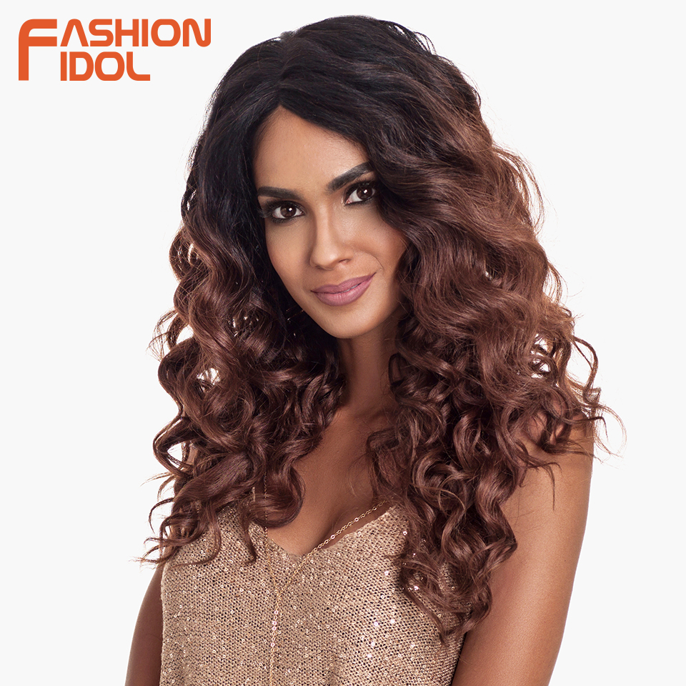 FASHION IDOL Deep Wave Hair Synthetic Lace Front Wig 24