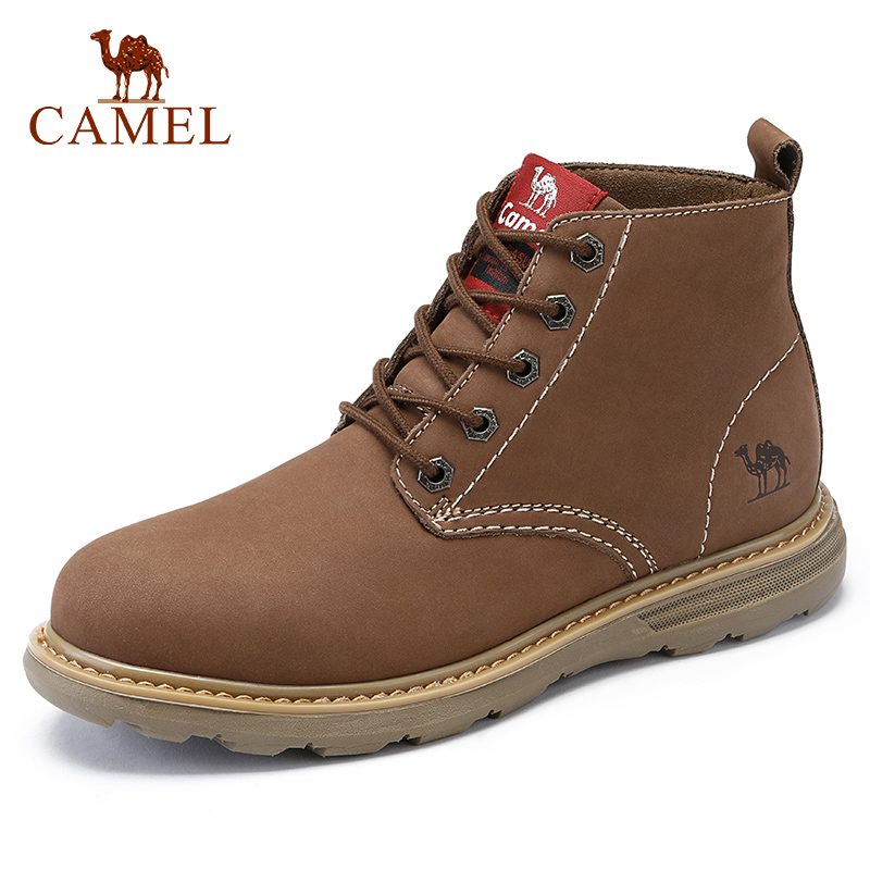 CAMEL Soft Tooling Boots Wear resistant Non slip Genuine Leather Trend Short Men s Leather Boots