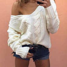 Women's V Neck Sexy Oversized Off Shoulder Jumper Hollow Warm Knitted Sweater