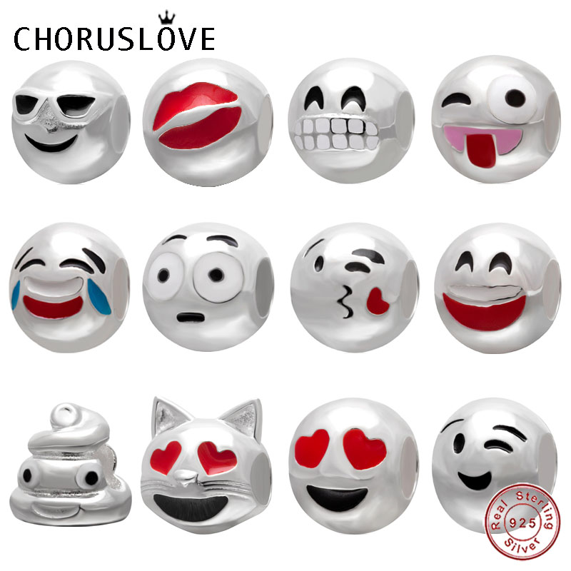 Choruslove Emoji Charm Experssion Bead 925 Sterling Silver Smiley Face Beads Fit Pandora Charms Cartoon Gift Bracelet Jewelry in Beads from Jewelry Accessories
