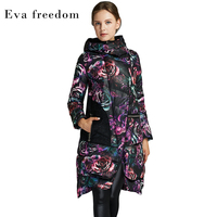 Eva freedom fashion winter rose printing long thick women's hat down jacket manufacturers direct selling