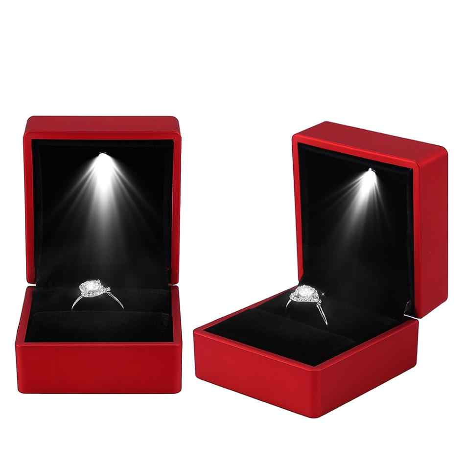 Fashion LED Light Ring Display Box Stand Soft Plush Tray Case Show Wedding Jewelry Organizer Storage Box Gift Jewelry Packaging