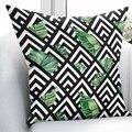 Чехол на подушку с объемным принтом в виде зеленых листьев и цветочных геометрических узоров  квадратная скрытая молния 45х45см  цвет черный  ...