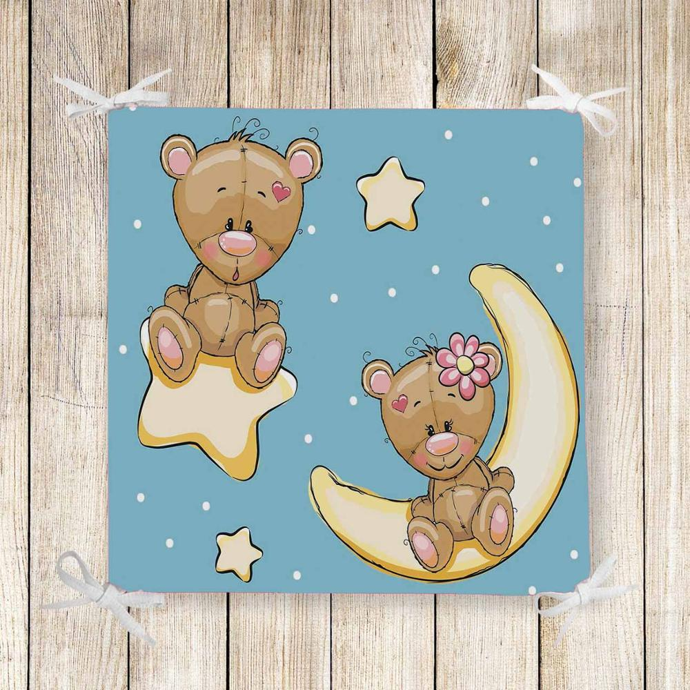 Else Blue Sky Yellow Star Moon Bears 3d Print Chair Pad Seat Cushion Soft Memory Foam Full Lenght Ties Non Slip Washable Square