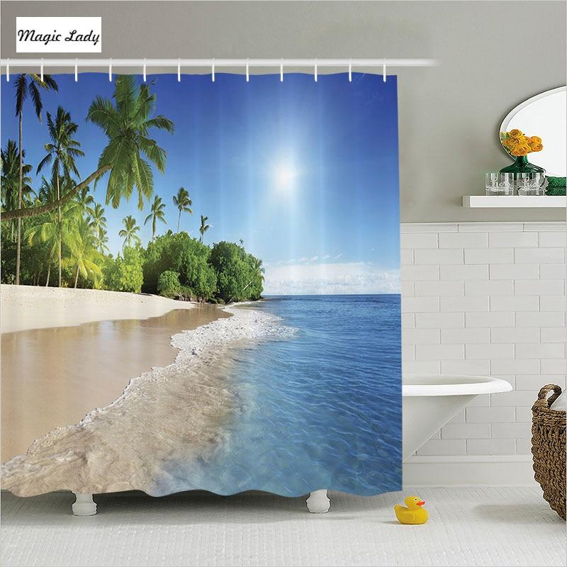 Shower curtain beach bathroom accessories tropical palm for Blue and green bathroom accessories