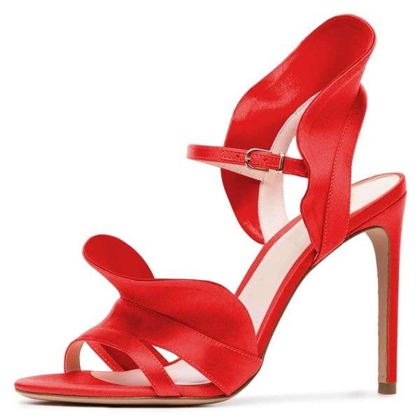 2019 Summer New Design Women High Heels Sandals Gladiator Coral Red Satin Slingback