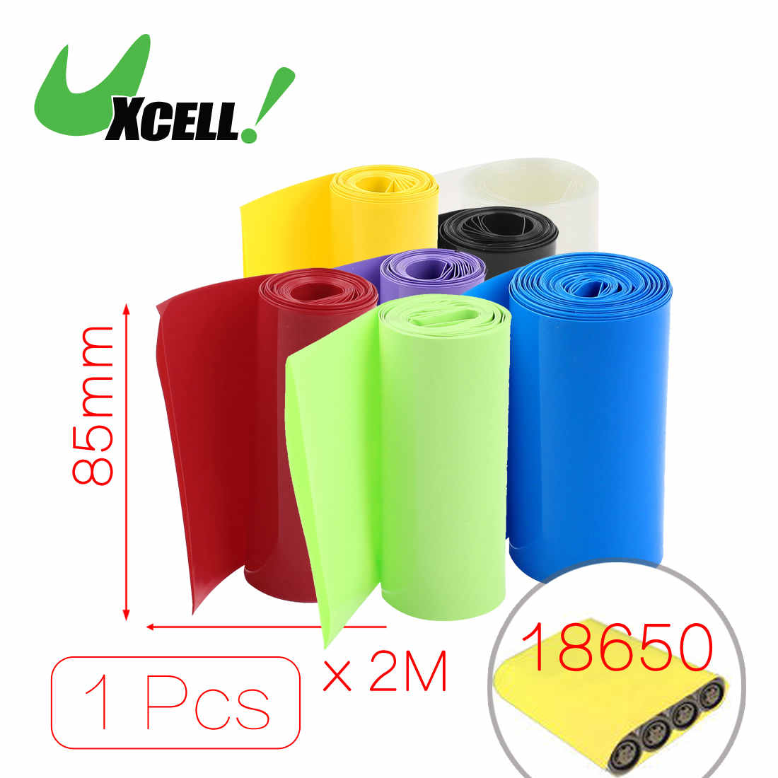 Uxcell 2Meters <font><b>85Mm</b></font> Width Pvc Heat <font><b>Shrink</b></font> Wrap <font><b>Tube</b></font> Blue For 18650 <font><b>Battery</b></font> Pack .   black   blue   clear   green   purple   red