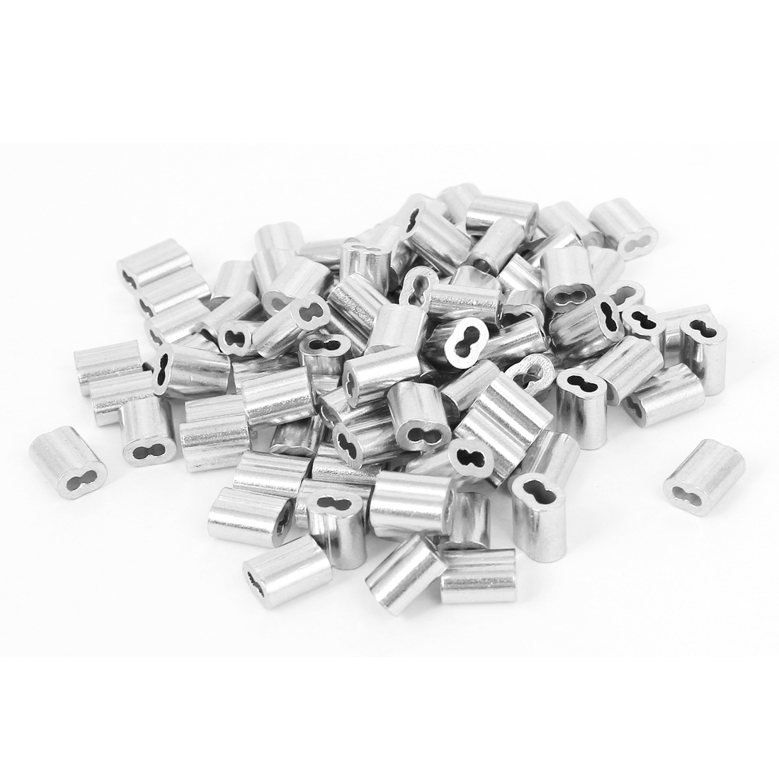 "UXCELL 100 Pcs/lot 9x7x5mm Wire Rope Aluminum Sleeves Clip Fittings Cable Crimps Fit For Steel Wire Rope Dia 1.8mm/1/16""(China)"