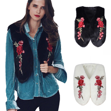 Lady Faux Fur Vest Flower Embroidered Soft Winter Sleeveless Coat Jacket Outwear