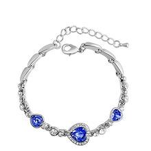 Ocean Heart Crystal Classic Silver Bracelet Jewelry