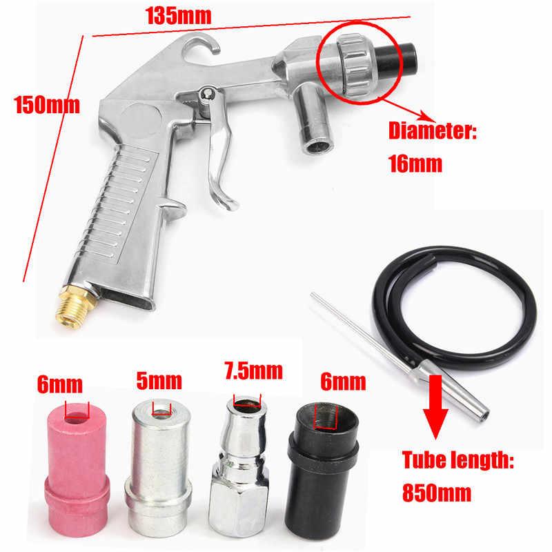 7 Pcs Air Sandblaster Zandstralen Blast Gun + Nozzles + Connector + Buis Ontroesten Tool Kit Power Tools