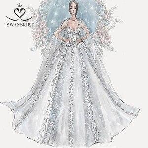 Image 2 - Swanskirt Vestido de boda personalizado 02 Sarahjah, apliques DZ, pelota personalizada, hecho en china, de talla grande, Vestido de novia
