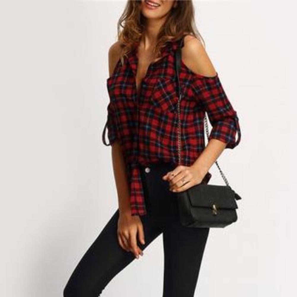 Open Shoulder  Woman Shirts  Summer Style Casual Women's Tops Lapel Long Sleeve Plaid Red Blouse
