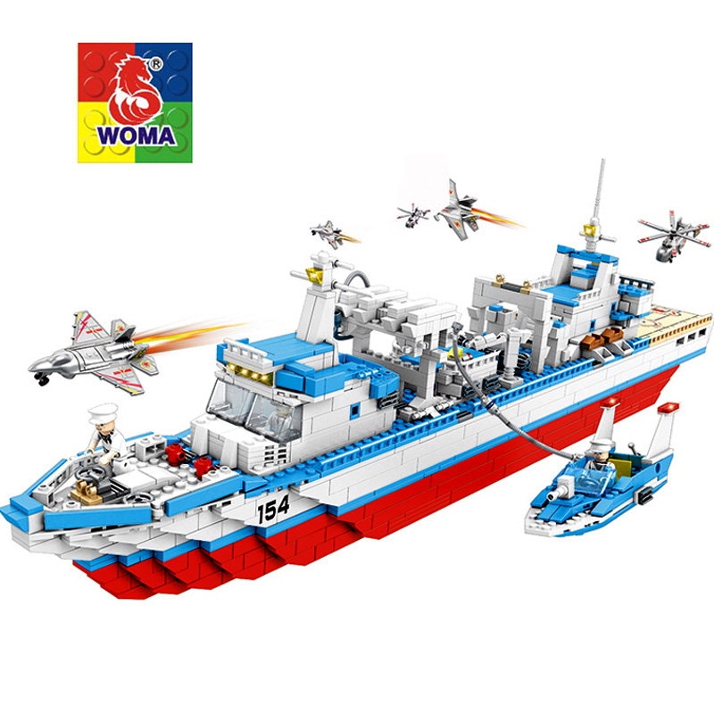 WOMA Military Education Blocks Toys Children Gifts Military Boat Destroyer Weapon Compatible legoe woma engineering architecture education model urban engineering vehicles building blocks children toys compatible with legoe