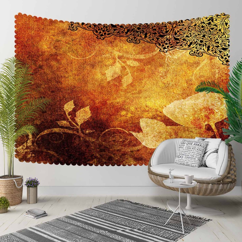 Else Brown Yellow Orange Floral Flower Ottoman Retro 3D Print Decorative Hippi Bohemian Wall Hanging Landscape Tapestry Wall Art